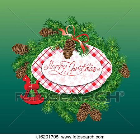 christmas and new year background fir tree branches pine cones and horse toy oval frame