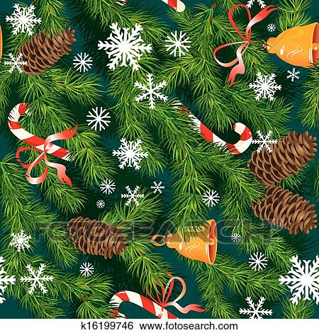 christmas and new year background in green colors fir tree texture with x mas accessories and snowflakes seamless pattern