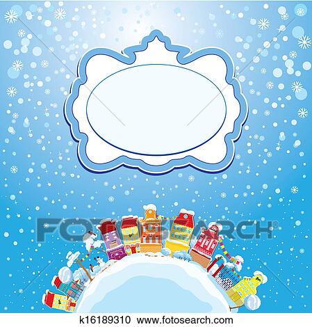 christmas and new year holidays card with small fairy town on light blue sky background with decorative colorful houses in winter time