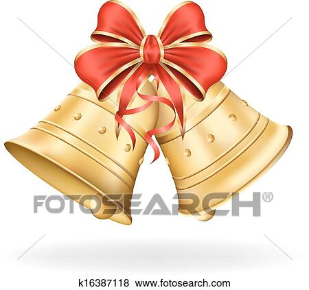 Christmas Bells With Red Bow On White Background. Xmas Decorations. Vector  Eps10 Illustration