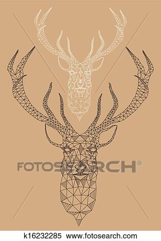 Clipart Of Christmas Deer Geometric Pattern K16232285