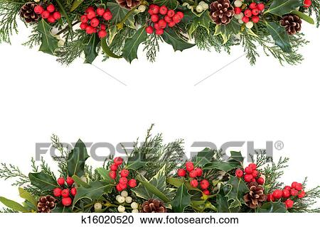 stock photography of christmas holly border k16020520 search stock