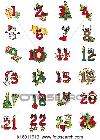 Christmas numbers Drawing | k16011913 | Fotosearch