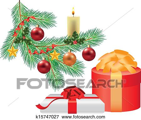 christmas tree branch with decorations and gift photo realistic illustration