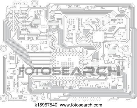 Clipart of Circuit board vector computer drawing - electronic ...