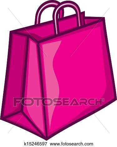 clip art of classic pink shopping bag k15246597 search clipart rh fotosearch com shopping bag clip art images shopping bag clipart vector