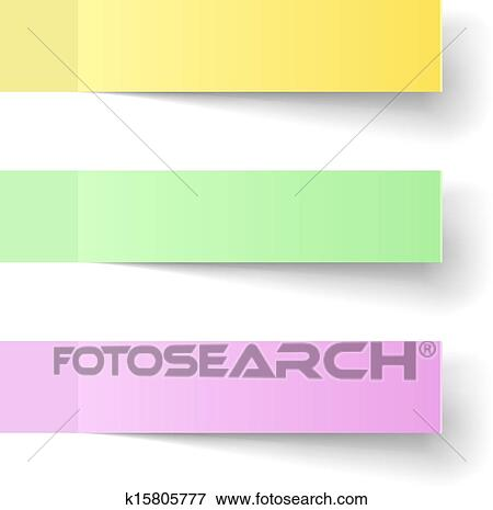 clip art of color sticky notes vector template with shadow