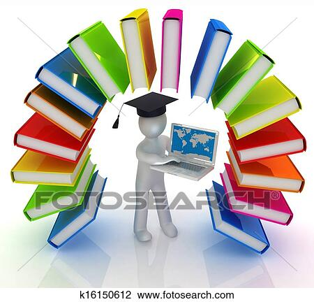 Clip Art of Colorful books like the rainbow and 3d man in a ...