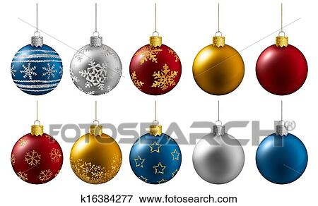 Colorful Christmas Balls.Colorful Christmas Balls Hanging On A White Background Stock Illustration