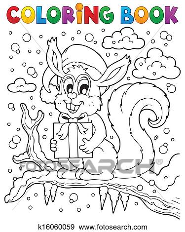 Clip Art of Coloring book Christmas squirrel 1 k16060059 - Search ...