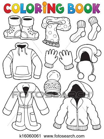 Clipart Of Coloring Book Clothes Theme 3 K16060061