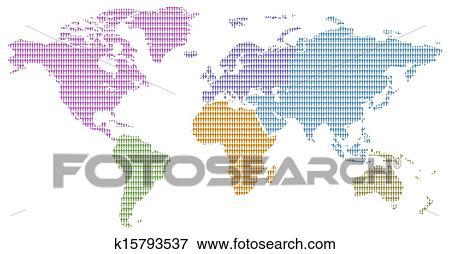Continent colors men pattern world map Stock Illustration