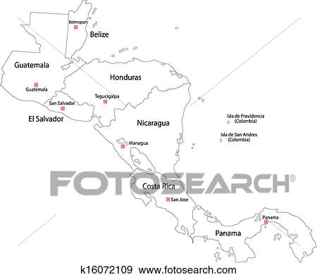 Clip Art of Contour Central America map k16072109 - Search Clipart ...