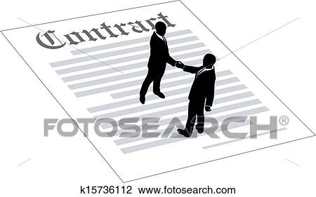 Clipart Of Contract Business People Sign Agreement K15736112