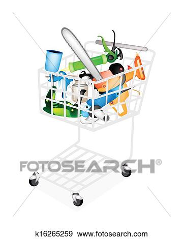 Clip Art Of Craft Tools For Working Wood And Stuff In Shopping Cart
