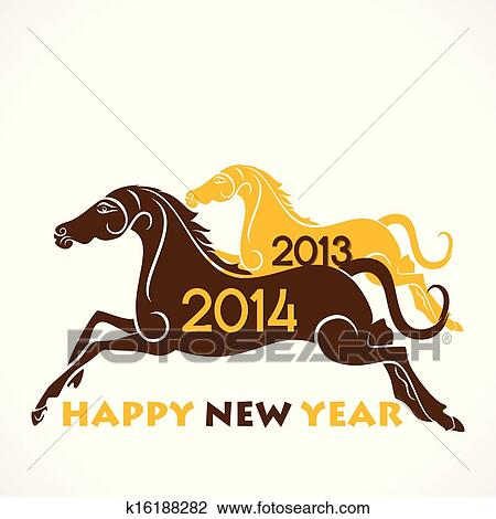 clipart creative horse theme happy new year fotosearch search clip art illustration