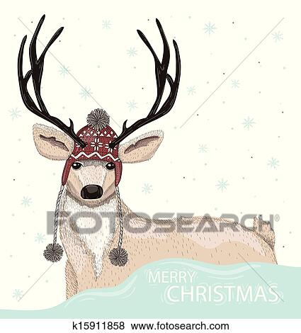 clip art of cute deer with winter background k15911858 search