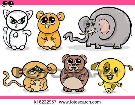 Image of: Clipart Set Cartoon Illustration Of Cute Kawaii Style Animals Set Fotosearch Clip Art Of Cute Kawaii Animals Cartoons K16232957 Search Clipart