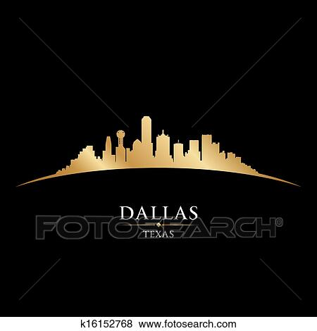 clip art of dallas texas city skyline silhouette black background