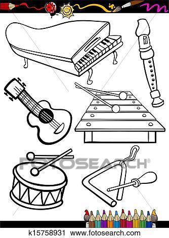 Dessin Anime Instruments Musique Coloration Page Clipart K15758931 Fotosearch