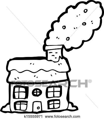 Clipart Dessin Anime Petite Maison A Cheminee Fumant K15555971