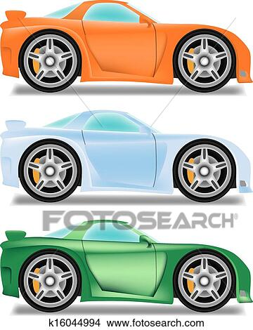 Dessin Anime Voiture Course A Grandes Roues Clipart K16044994