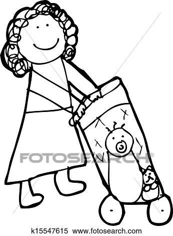 Clipart dessin enfant de a maman pousser landau - Poussette dessin ...