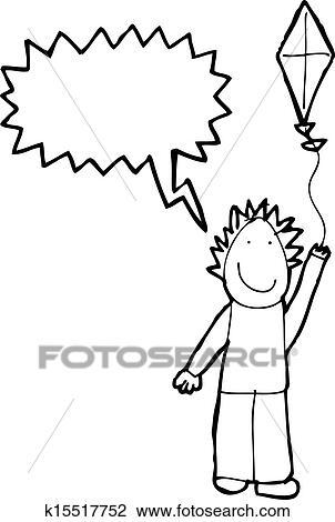 Clipart - dibujo del niño, de, un, niño, volar una cometa k15517752 ...