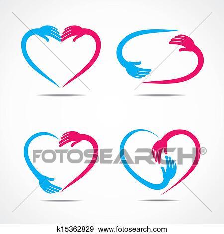 Clip Art Of Different Heart Shape Symbol Design K15362829 Search