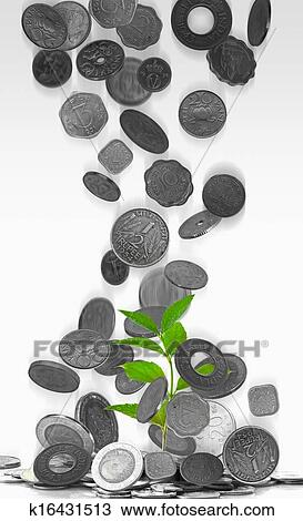 Different types of Indian currency, Antique coins Stock Image
