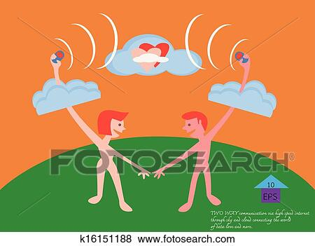 Clip Art Of Distance Love K16151188 Search Clipart Illustration