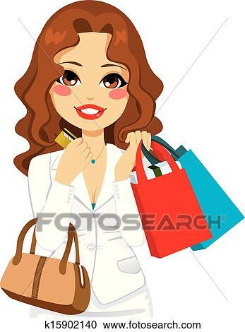 686f1419f219 Bello, donna affari, presa a terra, borse da spesa, e, lei, carta credito,  e, lusso, moda, borsellino