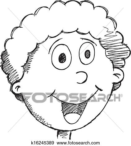 Clip Art Of Doodle Drawing Happy Face Vector K16245389 Search