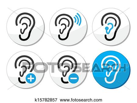 Clip Art Of Ear Hearing Aid Deaf Problem Icons K15782857 Search
