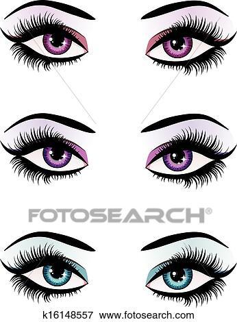 Fantasy Eyes Makeup Clip Art K16148557 Fotosearch