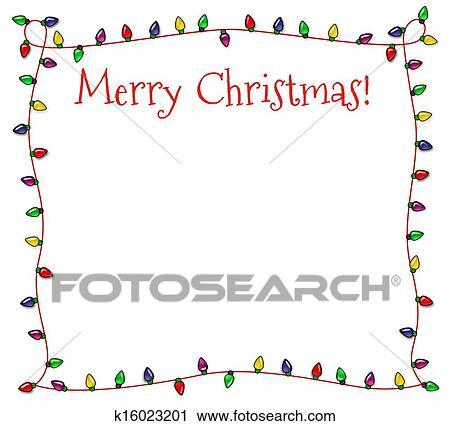 clipart festive christmas lights frame fotosearch search clip art illustration murals - Christmas Lights Frame