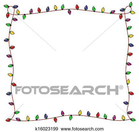 colorful christmas frame of multicolored lights - Christmas Lights Frame