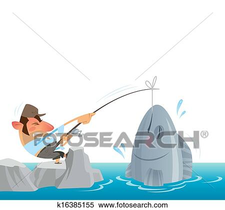 Stock Illustration Of Fisherman Catching And Pulling Out Of The Sea