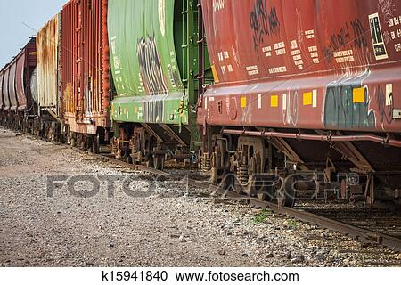 Stock Photography Of Freight Train Cars On Tracks K15941840 Search