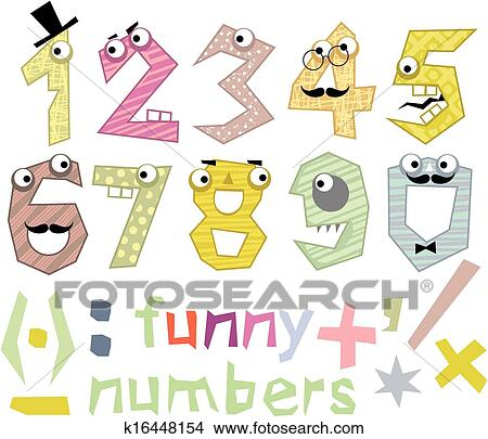 Clipart of Funny Numbers Set k16448154 - Search Clip Art ...