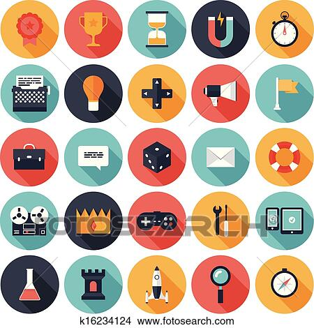 Modern Flat Icons Vector Collection With Long Shadow Effect In Stylish Colors Of Different Elements On Game Design And Development Theme
