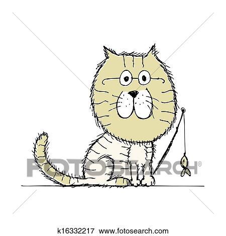 Gato E Cachorros Esboco Para Seu Desenho Clipart K16332217