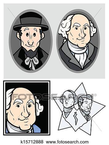 Clip Art Of George Washington Abraham Lincoln K15712888 Search