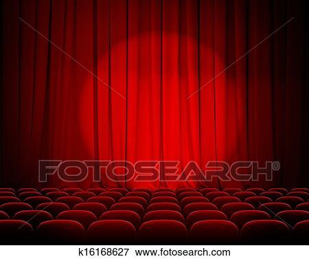 Beeld - gesloten, theater, rode gordijnen, met, schijnwerper, en ...