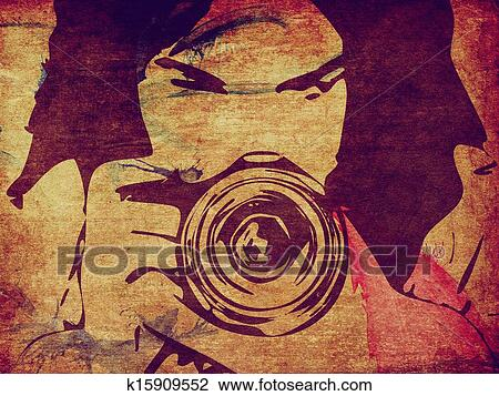 Grunge Camera Vector : Clip art of girl photographer grunge background k search