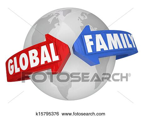 stock illustration of global family words around planet earth common