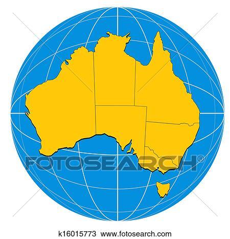 Australia Map Globe.Globe Australia Map Drawing