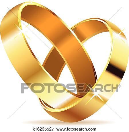 Goldene Hochzeit Ringe Clip Art K16235527 Fotosearch