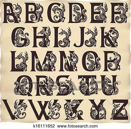 Clipart Of Gothic Alphabet With Gargoyls In Medieval Style K16111652