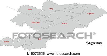 Grey Kyrgyzstan map Clip Art | k16073526 | Fotosearch